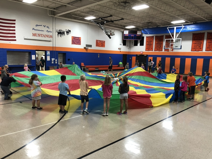 "South K-1 doing the ""Parachute"" in PE with Mr Richards."