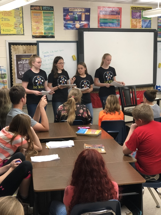 8th grade Girl Scouts earning their Silver Award teaching our 5-6 students about autism.